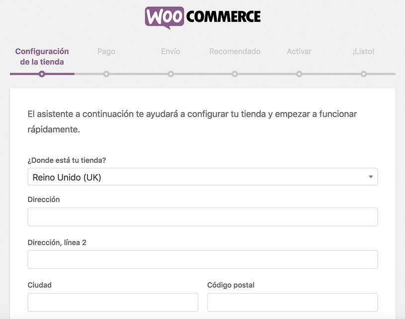 Asistente de configuración para Woocommerce