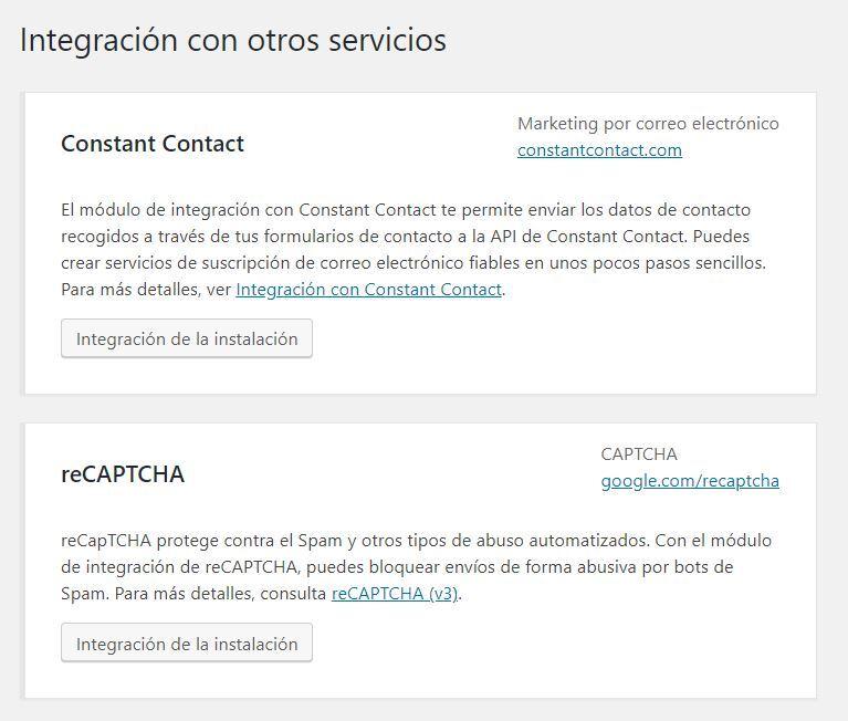 Integración de form7 de contacto