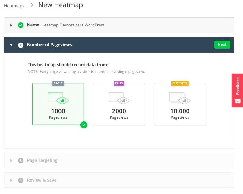Configurar un nuevo mapa de calor
