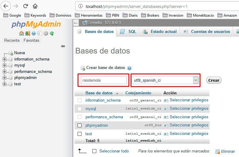 Crear base de datos-phpmyadmin
