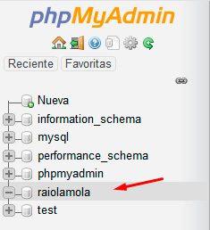 Base de datos creada con phpmyadmin