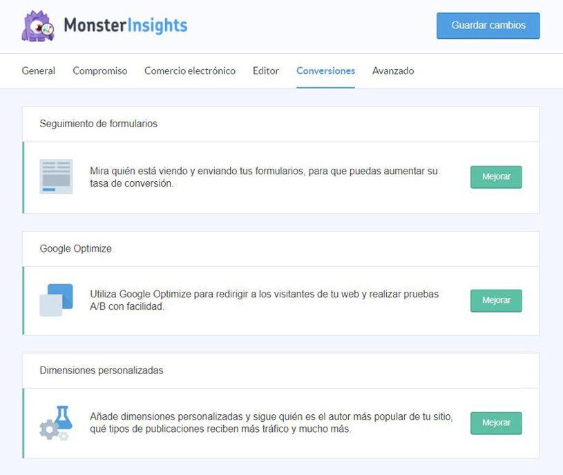 Conversión de Monsterinsights