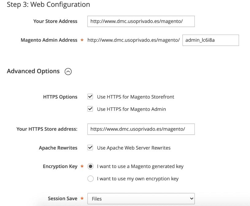Configuración de la red de Magento