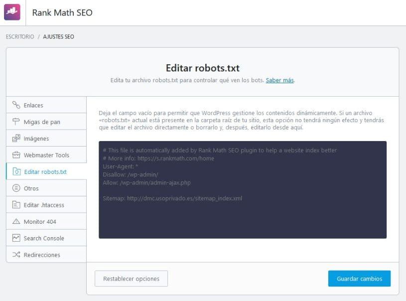 Configuración general Editar robot