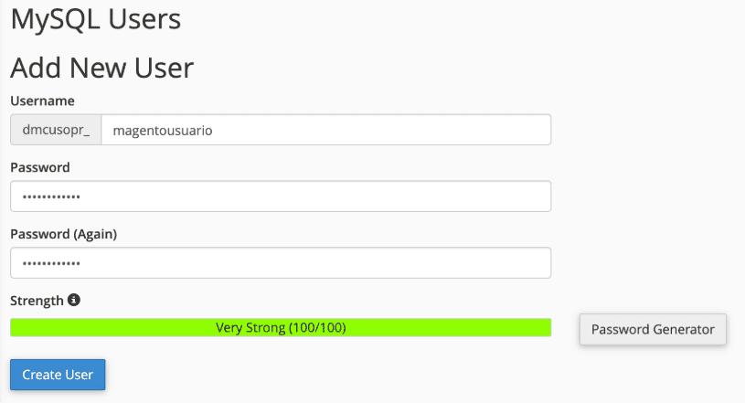 Crear usuario de base de datos de Magento