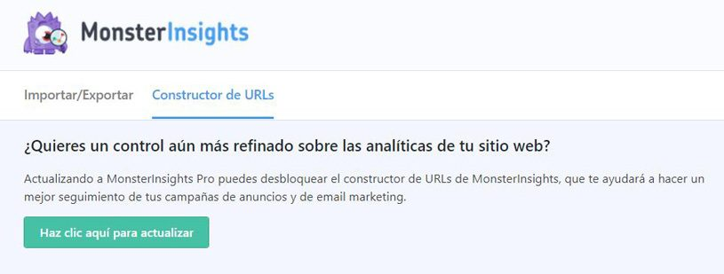 URL del constructor de Monsterinsights