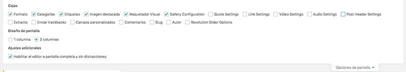 Opciones de pantalla de WordPress