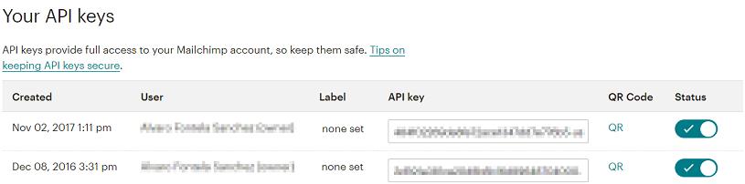 Clave de API de Mailchimp