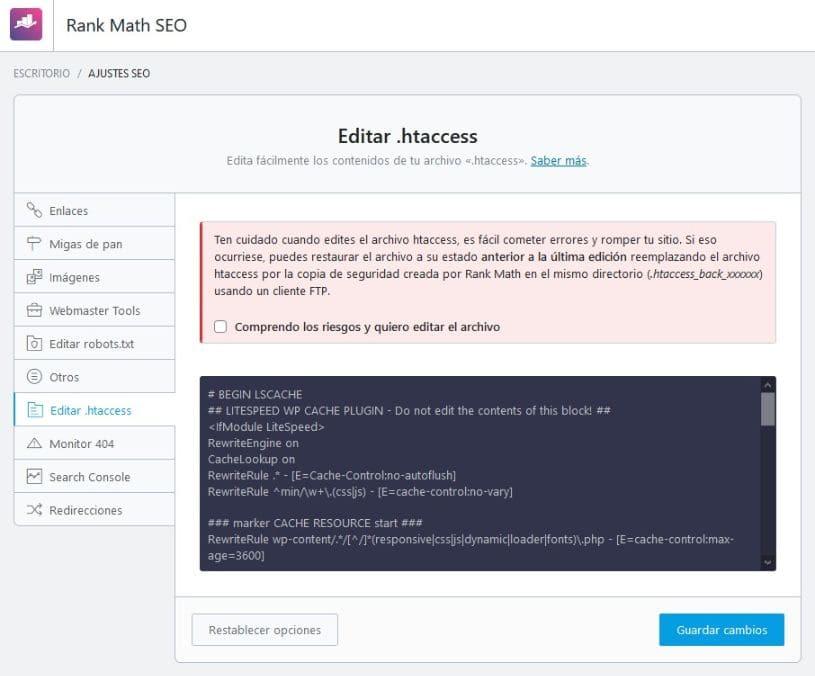 Editar la configuración general htaccess