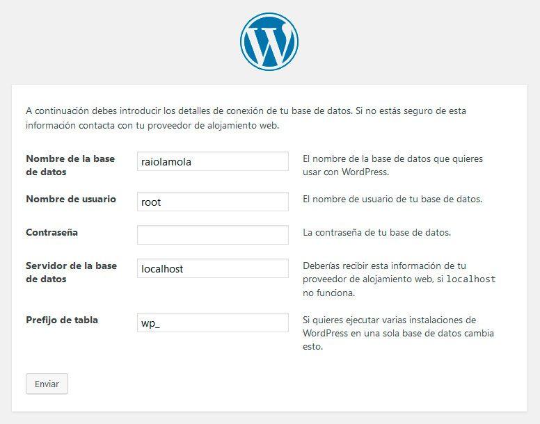 Configuración de la base de datos local de WordPress