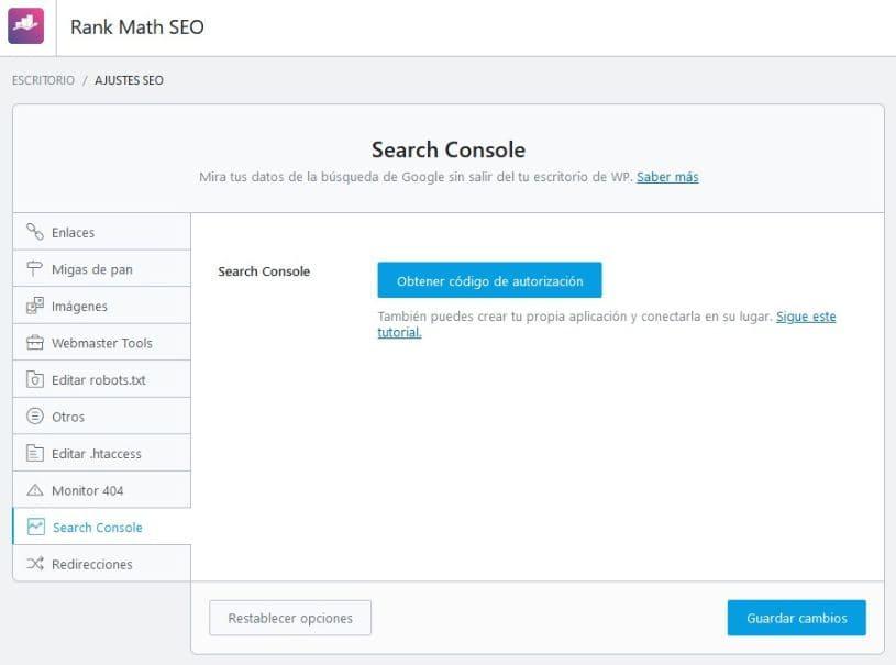 Configuración general de Search Console