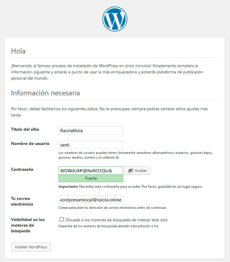 Establecer datos-Wordpress-Local