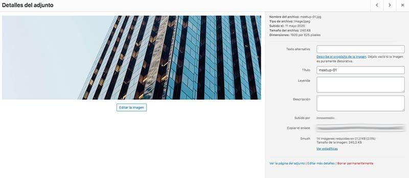 Detalles Imagen de WordPress recomendada