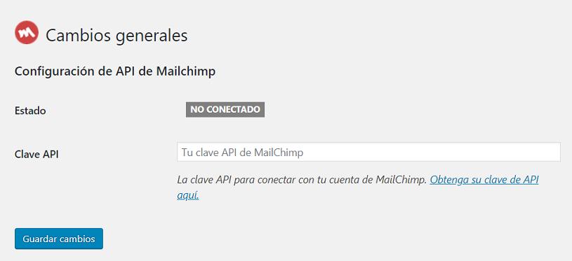 API de Mailchimp para WordPress