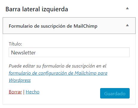 Widget de Mailchimp para WordPress