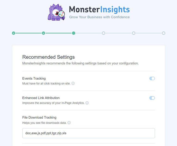 Configuraciones recomendadas de Monsterinsights