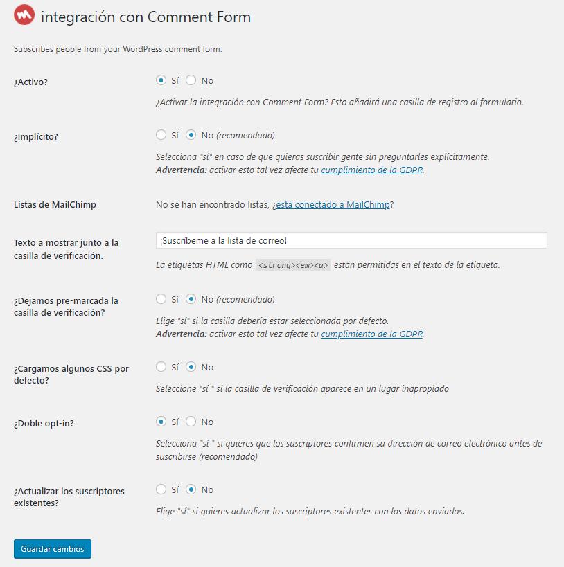 Integración de Mailchimp con WordPress