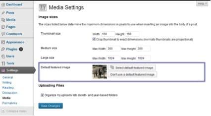 Complemento de WordPress Image Prefinida