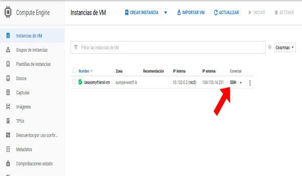 Visite ssh Google Cloud