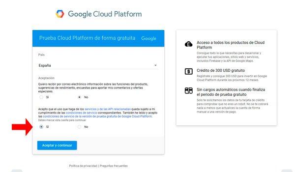 Acepta las Condiciones de servicio de Google Cloud