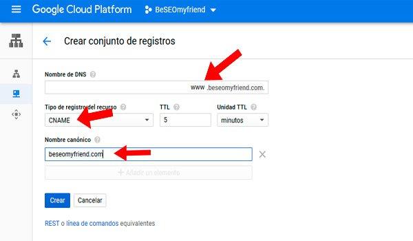 Establecer el nombre DNS canónico