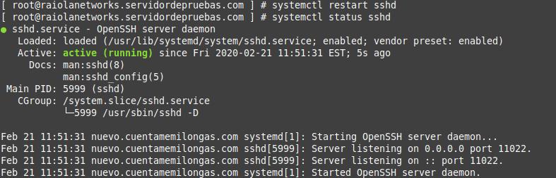 configuración de ssh