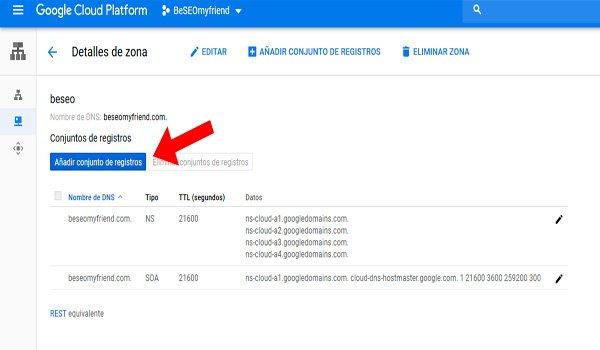 Conjunto de registros DNS