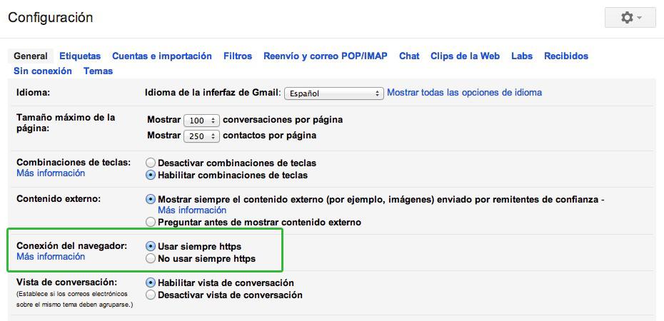 gmail_https Configurar una conexión segura