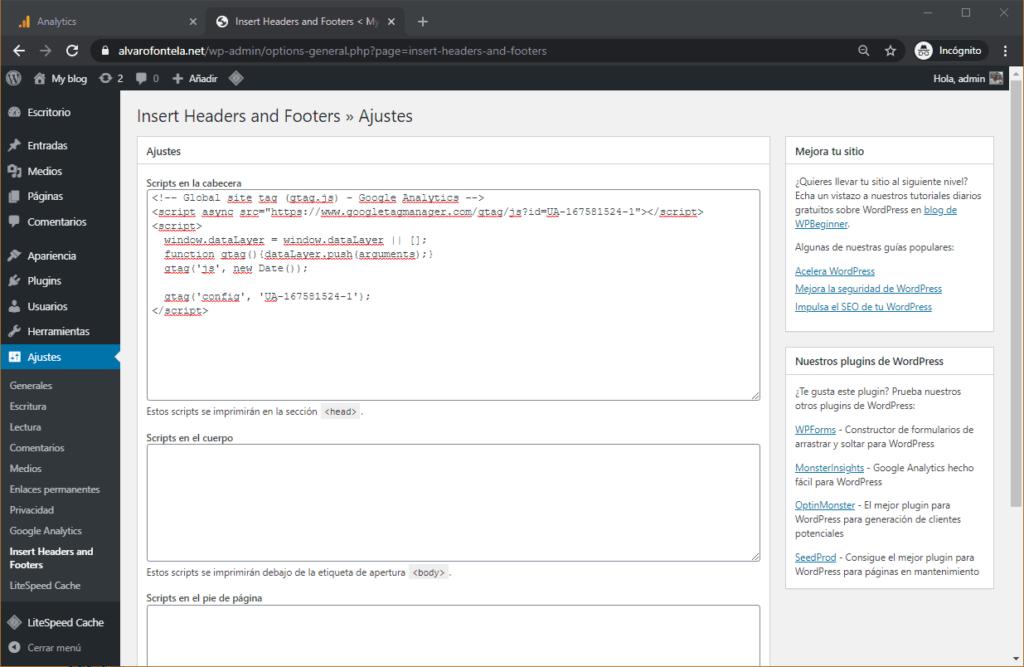 Configuración para el análisis de WordPress