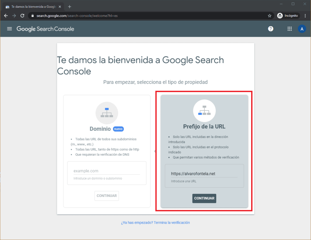 Cree una cuenta con Google Search Console