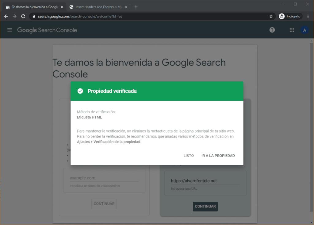 Usa Search Console para verificar