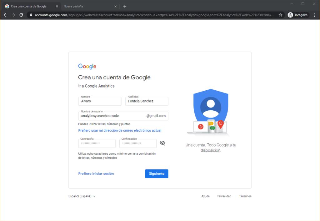 Google Analytics creado