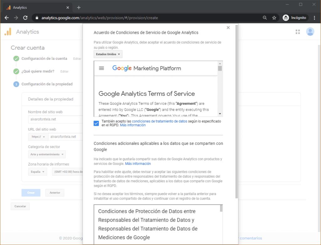 Condiciones de servicio de Google Analytics