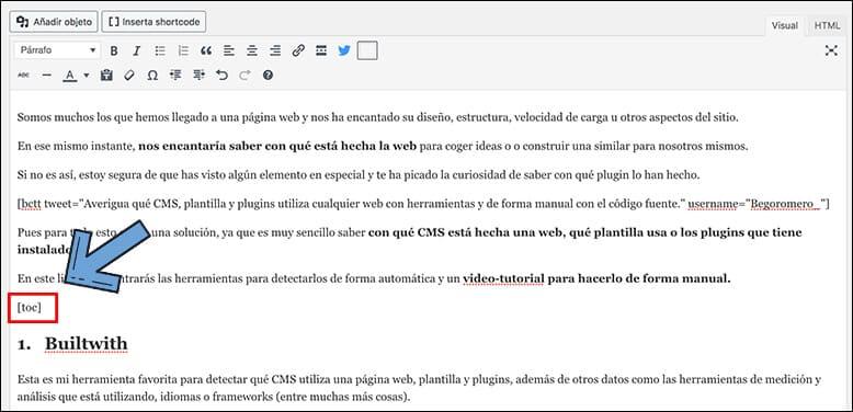 Pegar clic WordPress