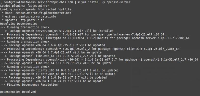 Instale el servidor SSH