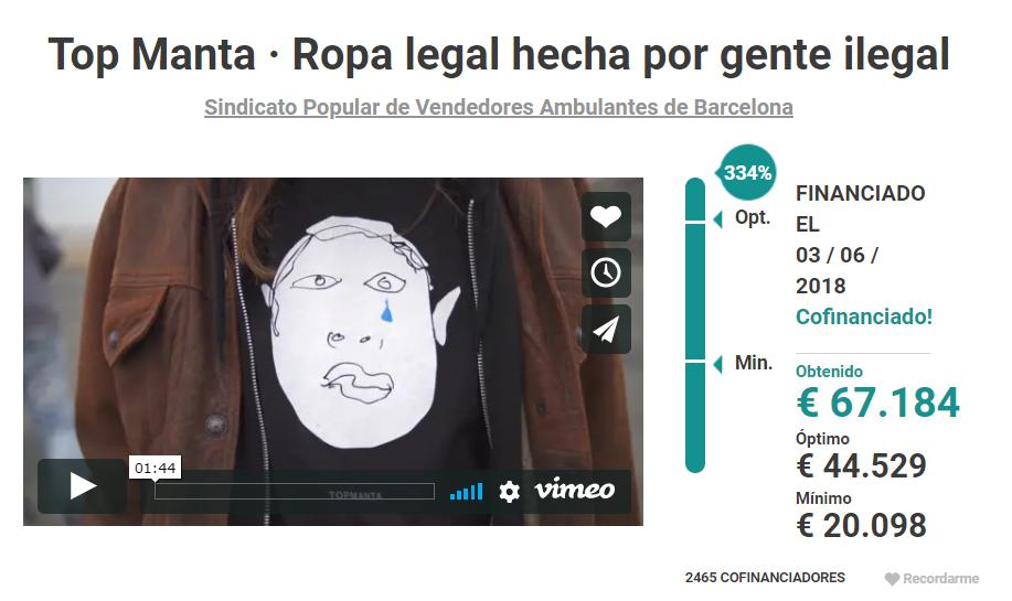 Página de inicio de crowdfunding de Manta